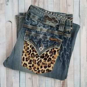 Miss Me Bootcut Jeans with Animal Print Cowhide